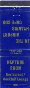 Vintage Hyannis, Mass/MA Matchcover, Neptune Room, Cape Cod