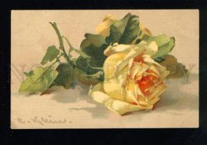 033563 Lovely Yellow ROSES on Table by C. KLEIN vintage PC