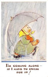 I'm Coming Along, If I have to Swim Umbrella, Mabel Lucie Attwell Signed