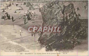 Old Postcard Biarritz The Round Rock of the Great Beach