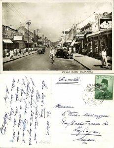indonesia, JAVA JAKARTA, Pasar Baru, Cars Shops (1953) RPPC Postcard