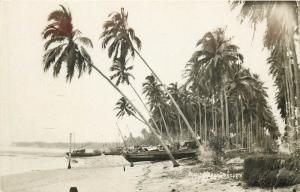 Fishing Village, Singapore Real Photo Postcard. Boat. Palm Trees