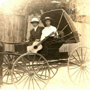 1910s Man & Woman Horse Carriage to Church w/ Acoustic Guitar RPPC Real Photo A8