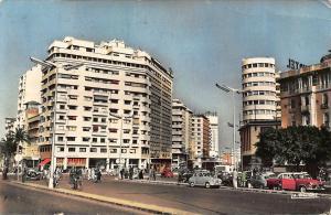 Morocco Casablanca Avenue de l'Armee Royale Vintage Cars Cyclists Postcard