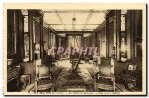 Old Postcard Malmaison Harp Music Room
