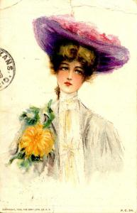 Lady in Purple Hat - Artist Signed: Unknown