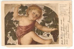 B. Luine. Putto with brunch of grapes  Fine painting, vintage Italian PC
