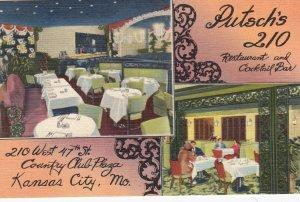 KANSAS CITY - Missouri , 1930-40s ; Putsch's 210 Restaurant & Cocktail Bar