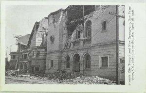 C.1906 San Francisco Earthquake Scotish Rite Temple, New Synagogue Postcard P97