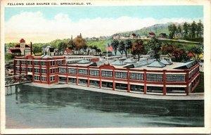 Springfield Vermont Fellows Gear Shaper Birdseye View Antique Postcard Rare