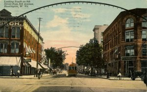 WV - Huntington. Trolley, looking South on 9th St from 3rd Ave circa 1900