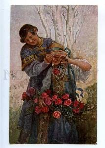 223845 RUSSIA Guess SOLOMKO TSN #14 roses vintage postcard