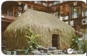 Curteich Postcard, Grass Hut Grass House Pauahi Bishop Museum Honolulu Hawaii