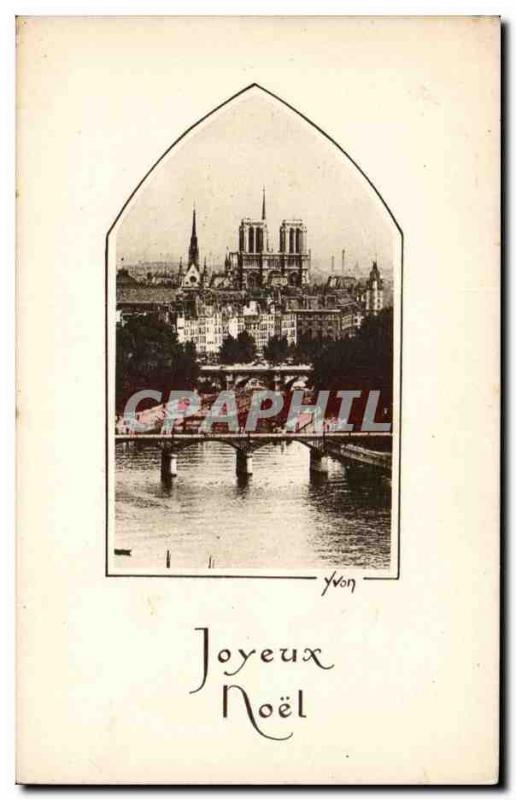 Old Postcard Paris Notre Dame Merry Christmas