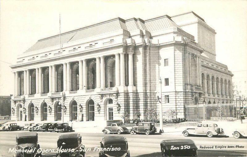 Autos 1940s RPPC Postcard Memorial Opera House San Francisco California 13452