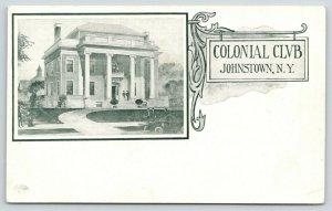 Johnstown New York~Colonial Club~Artist Drawn~Art Nouveau~c1905 B&W Postcard