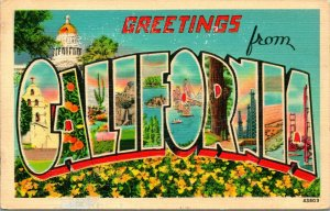 Vtg Lin Carte Postale Voeux De California Grand Lettre Pnc - non Utilisé