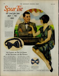 1927 Spur Tie All Tied For You Man Wearing Bow Tie Vintage Print Ad 3895
