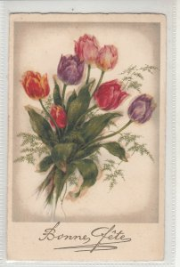 Tulips flowers glass pearls novelty early greetings fantasy postcard