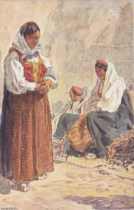 Austria Spalato Local Women In Traditional Costume