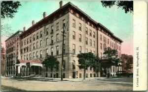 Vintage Springfield, Illinois Postcard LELAND HOTEL Street View c1910s UNUSED