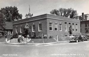 Independence IA~Split Steps~Art Deco Post Office~Mansard Roof RPPC 1930s Autos