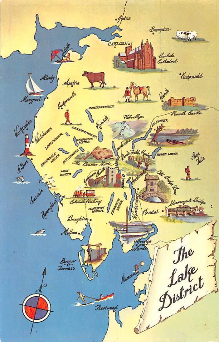 Map Of England Lake District.England Cumbria The Lake District Map Carlisle Kendal Hippostcard