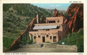 Garden Of The Gods Colorado~Hidden Inn~1930s Vintage Postcard