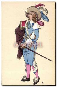 Old Postcard History of Costume French Reign of Louis XIII in 1628