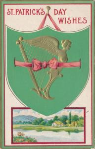 St Patricks Day Wishes Red Ribbon Irish Harp Rural Scene pm1913 Solomon Brothers
