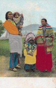 H-039  A Western Indians Embossed & Applied   UDB Real Color Picture Postcard