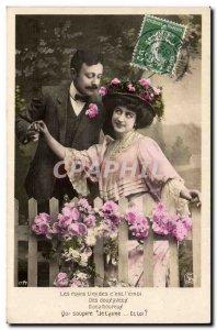 Fantasy - Couple - Shy Hands c & # & # 39est the 39emoi - Old Postcard