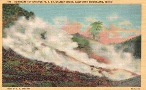 Sawtooth Mts., ID, Sunbeam Hot Springs, U.S. 93, 1938 Linen Postcard g4424
