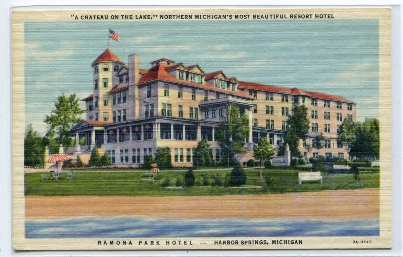 Ramona Park Hotel Harbor Springs Michigan 1950 Postcard