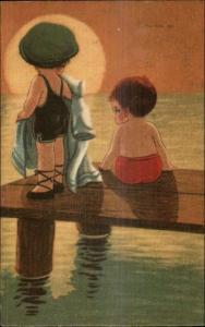 Art Deco - Cute Kids on Swimming Dock - Sunset c1920 Postcard