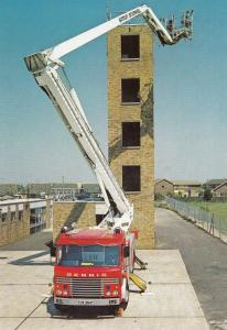 Hestair Dennis Delta II Hydraulic Platform Fire Engine Brigade Postcard