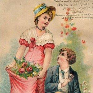1890s H. Keller Hats Caps Slippers Trunks Man & Lovely Lady Flowers *D