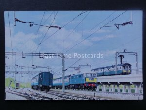 Locomotive ELECTRICALLY HAULED EXPRESS NEAR FLY OVER AT RUGBY Old Postcard