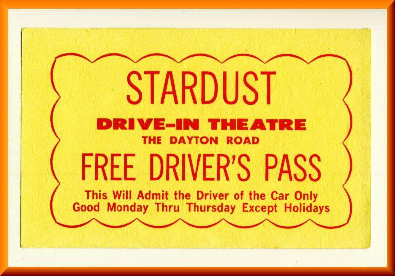 1960's Stardust Drive-In Theatre Driver's Pass, Springfield, Ohio/OH