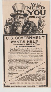 Uncle Sam Calling for Stenographers, Franklin Institute 1918 Ad Rochester NY