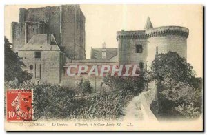 Old Postcard Loches The dungeon's entrance and the Court Louis