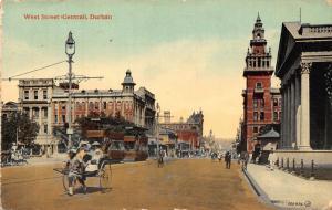 South Africa Durban West Street tramways rickshaw bikes postcard