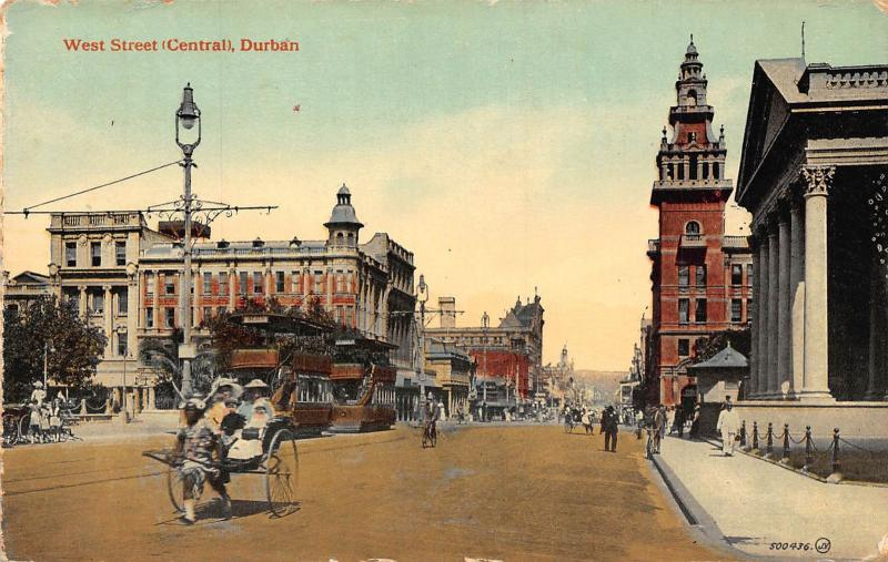 South Africa Durban West Street tramways rickshaw bikes postcard