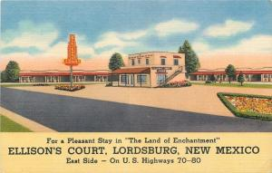 Lordsburg NM~Ellison's Court on Rt 70-80~Art Deco Sign~Flower Beds 1954 Roadside