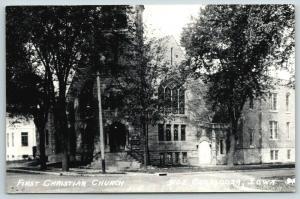 Oskaloosa Iowa~First Christian Church Corner~1940s Real Photo Postcard~RPPC