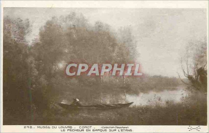 Old Postcard Louvre Museum Corot fisherman in the boat on the Pond