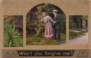 Romantic Couple In The Garden Won't You Forgive Me