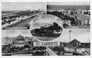 Great Yarmouth, Marine Parade Winter Gardens Boating Lake Sea Front Train 1952