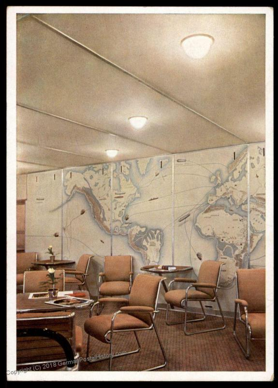 Zeppelin Hindenburg Interior View Meeting Room Postcard 80059