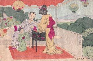 Japanese Hand Drawn Painted Craft Appearance Kimono Lady Shock 1904 Japan Pos...